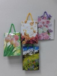 Подарочный пакет - ламинат плотный (цветы) 14*20см,  прямоугольный